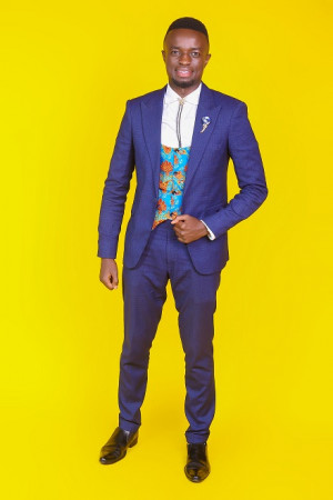 Navy Blue Three Piece Suit with Ankara Waist Coat