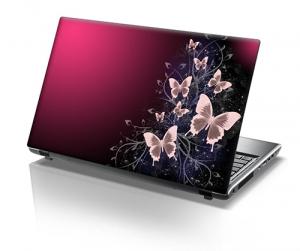 Pink Butterflies Laptop Skin