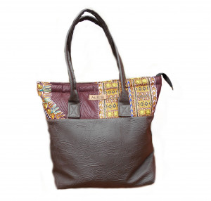 Brown Leather Ankara Tote