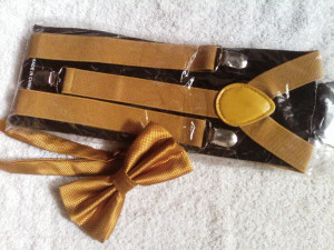 Yellow Mastered Suspenders and Bowtie