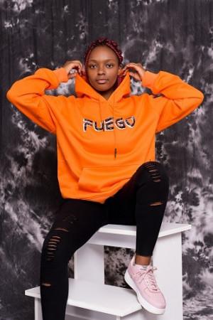 Orange bandana print hoodie